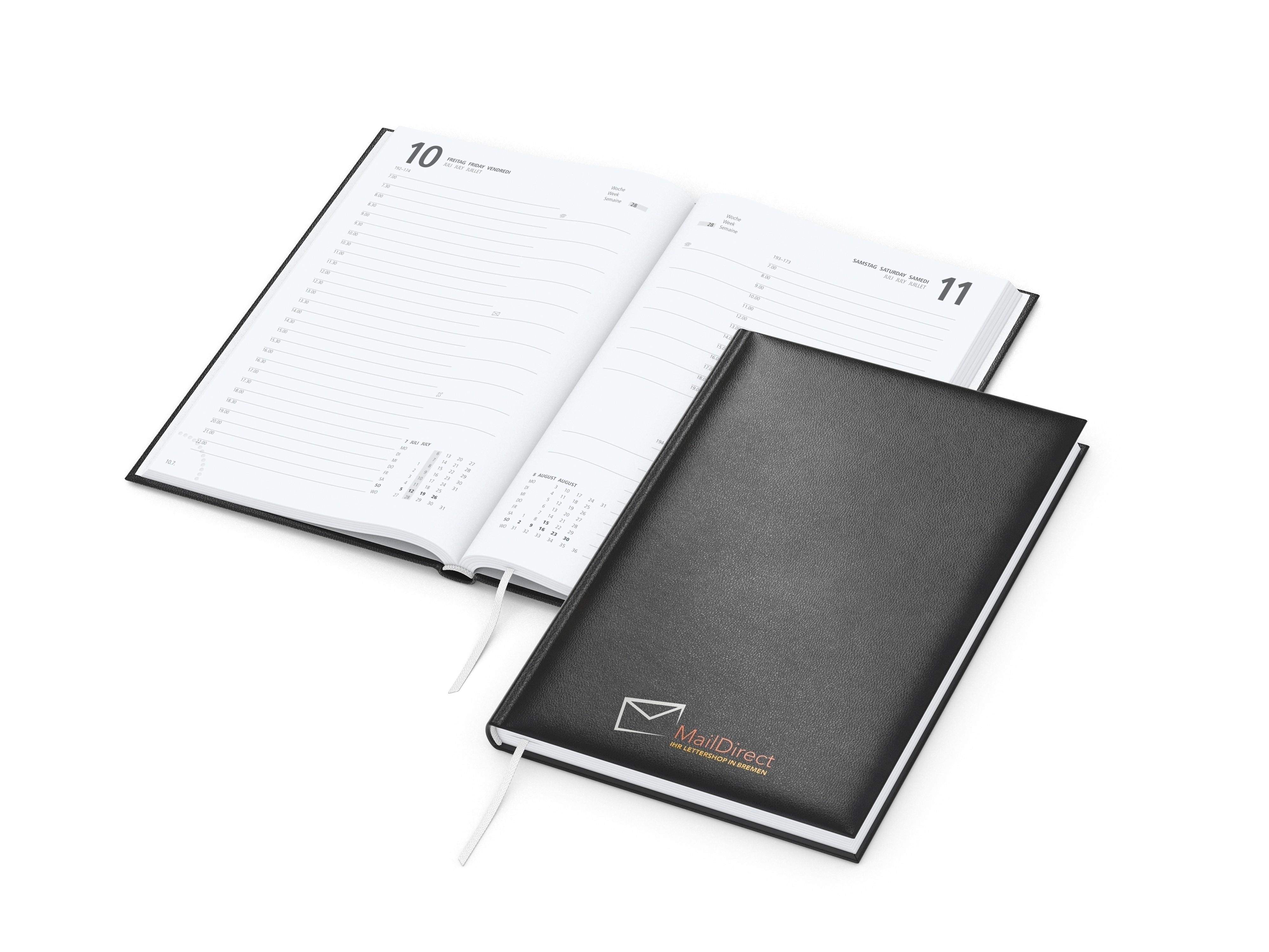 Buchkalender Basic bestseller, schwarz Siebdruck-Digital