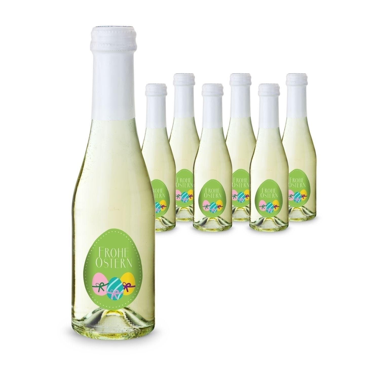 Geschenkartikel / Präsentartikel: Oster-Piccolo - 6 x Secco Piccolo 0,2 l , Flasche klar