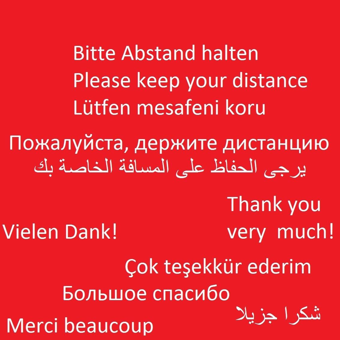 Bitte Abstand halten Aufkleber international mehrsprachig
