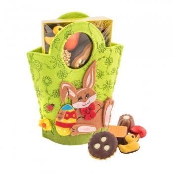 Geschenkartikel / Präsentartikel: Filztasche Hase, Ostergebäckmischung 200 g