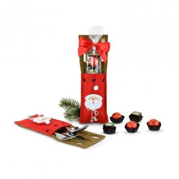 Geschenkset / Präsenteset: Pralinée-Bestecktasche Weihnachtsmann