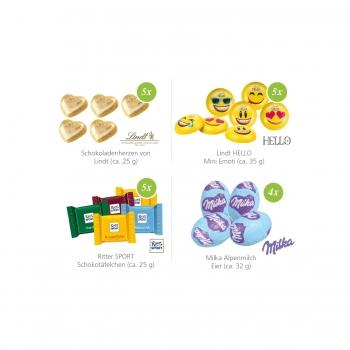 Werbewürfel mit Milka Alpenmilch Eier Milka