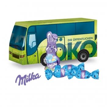 """3D Präsent """"Bus"""" mit Schokoladenmischung von Milka Milka"""