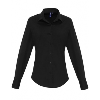 Ladies Stretch Fit Cotton Poplin Long Sleeve Shirt