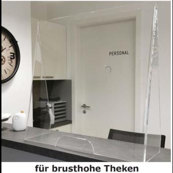 Thekenschutz brusthoch aus Plexiglas™ (Viren-, Husten-, Spuckschutz)