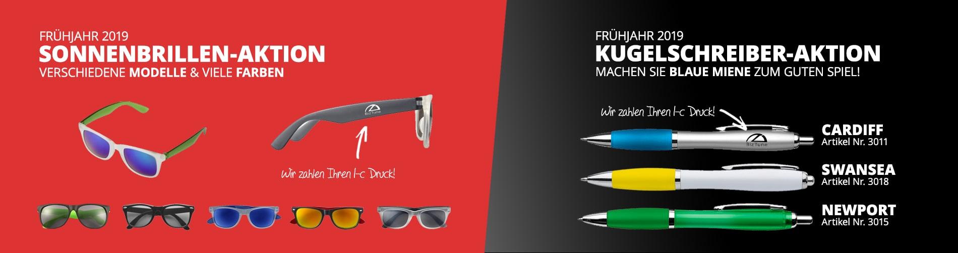 Bedruckte Sonnenbrillen & bedruckte Kugelschreiber